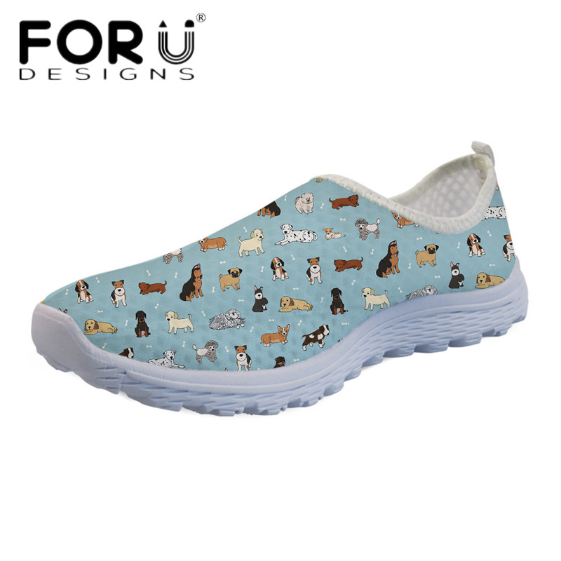 FORUDESIGNS 3D Animal Puppy Doodles/Cows Print Women Slip-on Flats Casual Light Mesh Sneakers for Ladies Girls Beach Water Shoes forudesigns cute animal dog cat printing air mesh flat shoes for women ladies summer casual light denim shoes female girls flats