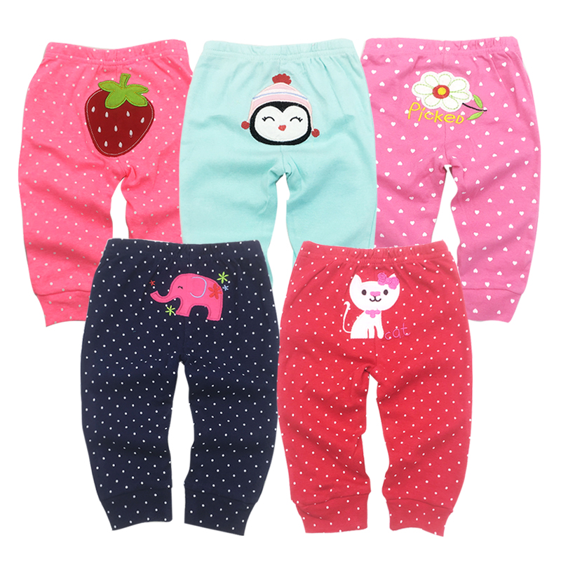 5pieces/lot Baby Boy Girl Pants Cotton Cartoon Animal Boys Pant Autumn Infant Long Trousers Overalls Girls Clothes Baby Clothing