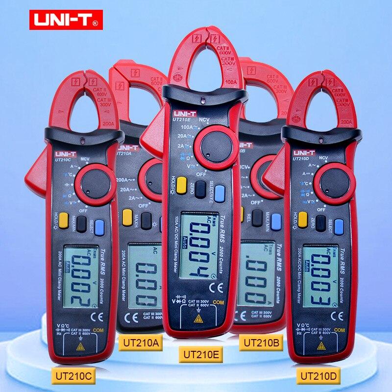 Medidores de pinza digitales de voltaje de Corriente CA/CC Mini UNI-T serie UT210, multímetro sin contacto de capacitancia VFC de rango efectivo automático