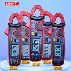 Mini pinza Digital medidores de voltaje de Corriente CA/CC UNI-T serie UT210 rango real RMS Auto capacitancia VFC multímetro sin contacto