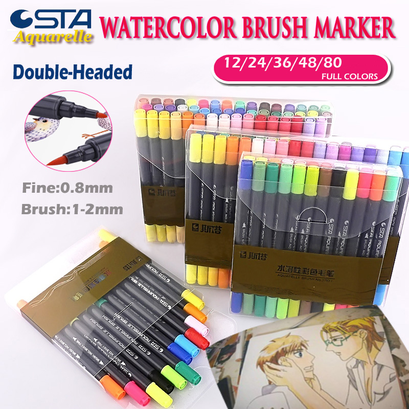 STA Watercolor Dual Brush Marker Soft Flexible Tips for Drawing Blending as  Aquarelle Calligraphy Pen Anime Comic Markers