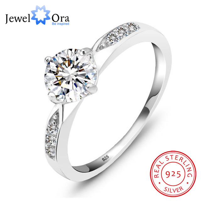 Genuine 925 Sterling Silver Ring Classic Wedding Ring Jewelry Cubic Zircon  Rings For Women Bridesmaid Gifts