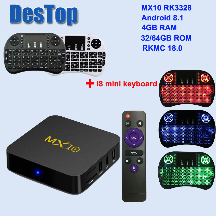 US $23 59 37% OFF|MX10 Smart TV Box Android 8 1 RK3328 Quad Core 64bit DDR3  4GB 64GB K18 0 4K HD Wifi 100M LAN USB3 0 Set top Box media player-in