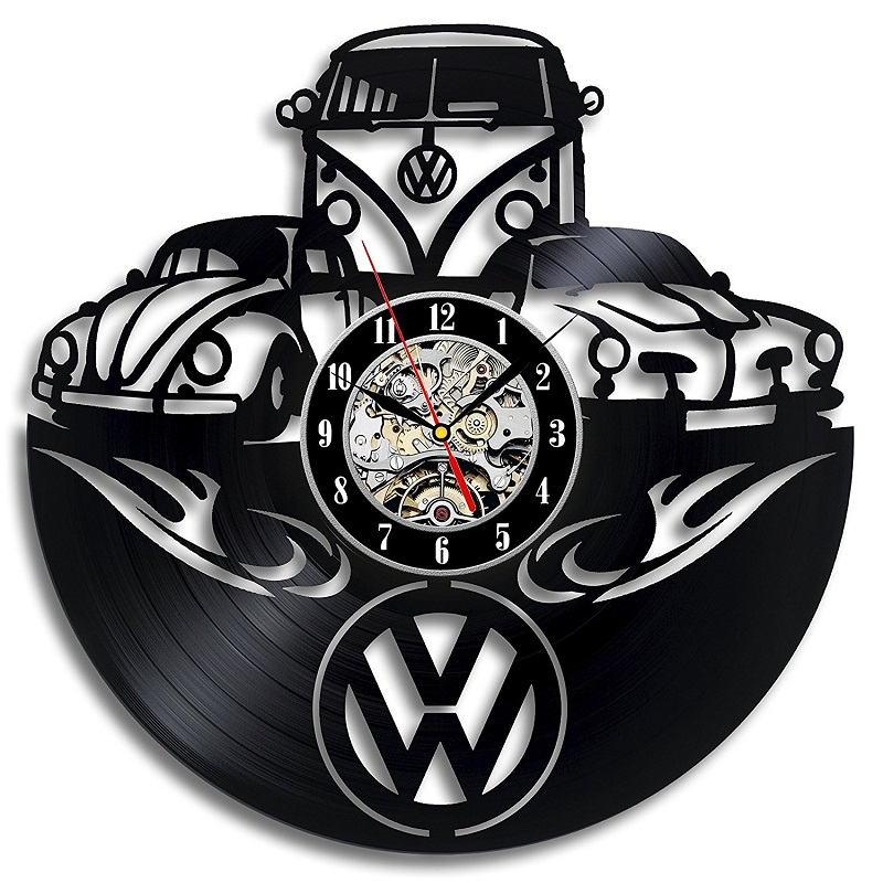 Car Logo Volkswagen Vinyl Record Wall Clock Gift for Friend 3D Decorative Hanging Home Decor Clock Classic Wall Clock