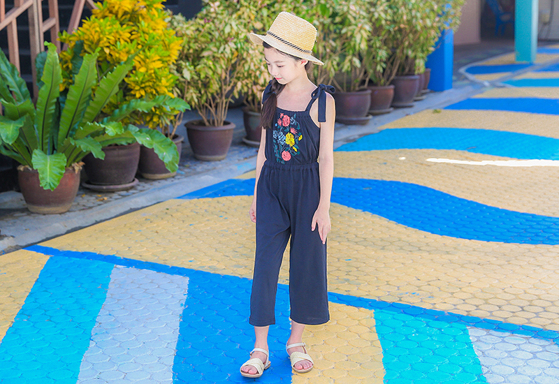 c922af26e872 floral pattern kid girls jumpsuit summer 2018 spring teenage pants  sleeveless pink blue overalls girls children baby clothing 4 5 6 7 8 9 10  11 12 13 14 15 ...