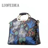 LUOFEIHUA Genuine Leather Women's bag 2019 new luxury embroidered leather handbag embroidery leather handbag Designer bag