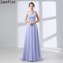 JaneVini Lavender Women Ladies One Shoulder Crystal Bridesmaid Dress Long  Chiffon Beaded Wedding Party Bridal Formal Gowns 2018 c0da4ba0e7bf