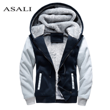 ASALI Thick Tracksuit 2018 Winter Zipper Outdoorwear Hoodie Men's Warm Hooded
