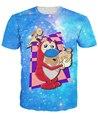 Me encanta el Pollo Camiseta Ren y Stimpy Galaxy Nebulosa del Espacio t camisa de Las Mujeres de Los Hombres Unisex de la Historieta Caracteres Trajes tees Plus tamaño