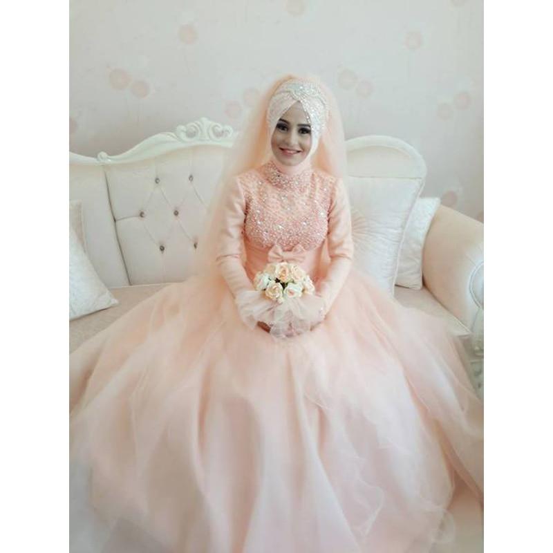 Elegant Long Sleeve Wedding Dresses Muslim Dress 2015: Aliexpress.com : Buy New Arrival Elegant Pink High Neck