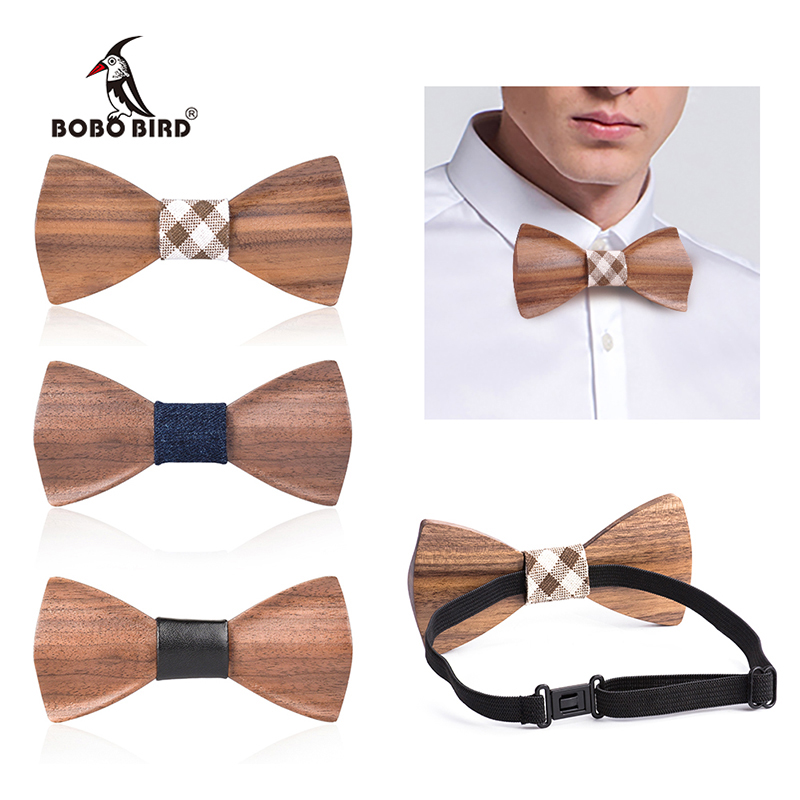 Wood Bow Tie Mens Handmade Wooden Bowties Personalized Butterfly Wedding Party Ties For Groomsman