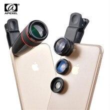 Evrensel 12X Telefoto Teleskop Optik zoom objektifi + Geniş Açı & Makro + Balıkgözü Lens Kamera Lens Kiti için iPhone7 6 artı Samsung