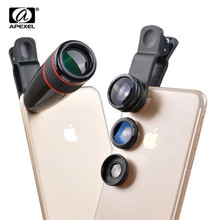Universal 12X teleobjetivo telescopio objetivo con zoom óptico + gran angular y Macro + lente de cámara Ojo de pescado lente Kit para iPhone7 6 Plus Samsung