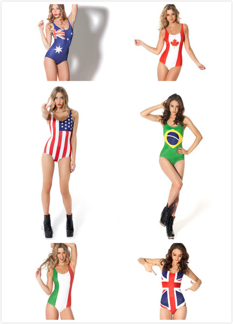 60df241744c Lady sexy 3D Swimsuit print national flag USA/UK/ Australia/Brazil/canada  women 3D one piese Swimwear Beachwear Bikini Set beach