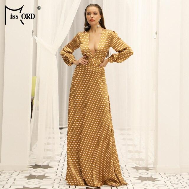 Missord 2019 сексуальное весенне-летнее платье с глубоким v-образным вырезом в мелкий горошек с разрезом, элегантное пляжное платье в пол FT18443