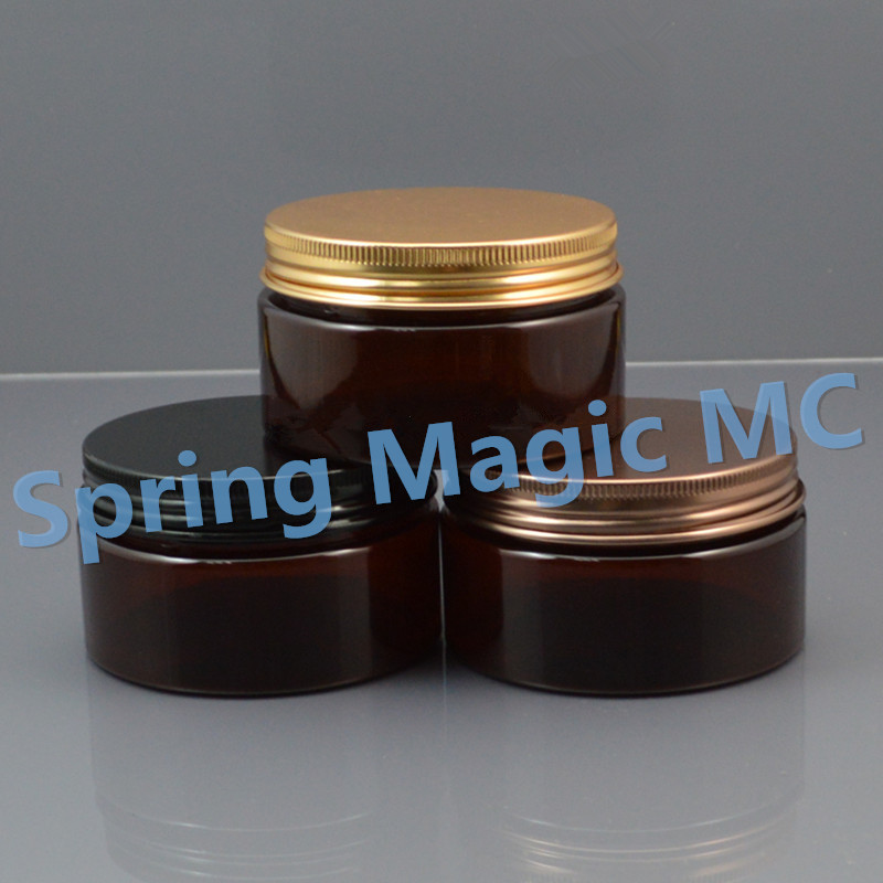 100g brown Plastic Cosmetic Jar With Aluminum Lid 100ml Empty PET Jars Cosmetic containers Hair wax