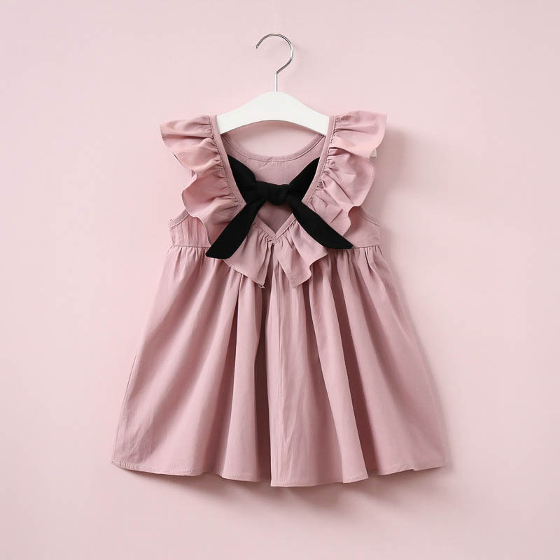 Dusty Pink Baby Girl Dress Ruffle Collar Children Clothes Backless Kids Clothes Summer Girls Dress with Bow Cute Toddler Dress football clothes tutus touch downs fall baby girls boutique skirt ruffle hot pink long sleeves bow heart with matching accessory
