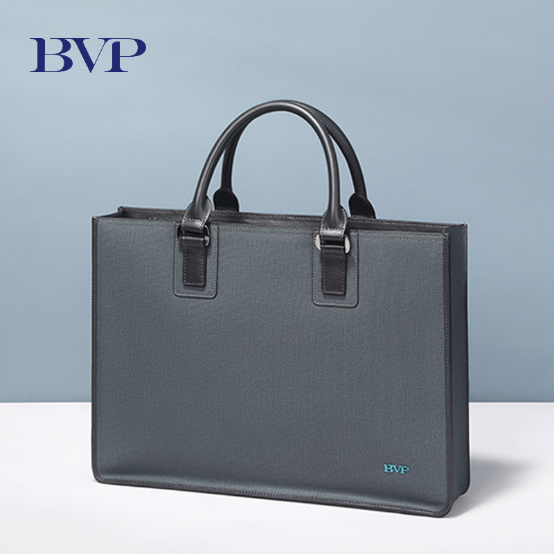 BVP Brand Genuine Leather Men Briefcase High Quality Man 14 Inch Laptop Briefcase Bag Male Gray Document Case Antique Design J35