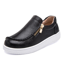Kids leather shoes fashion zipper with platform girls and boys high quality genuine black color
