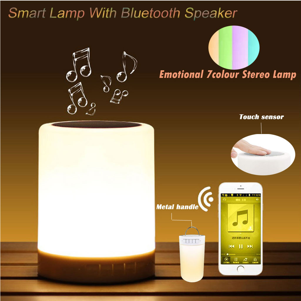Portable LED LCD Bluetooth Music Speaker Smart Touch Night Light Color Changing