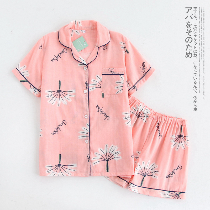 100% Cotton Short Sleeves Pyjamas Women   Pajama     Sets   Shorts Ladies Cute Cartoon Print Japanese Simple Sleepwear Homewear Pijamas