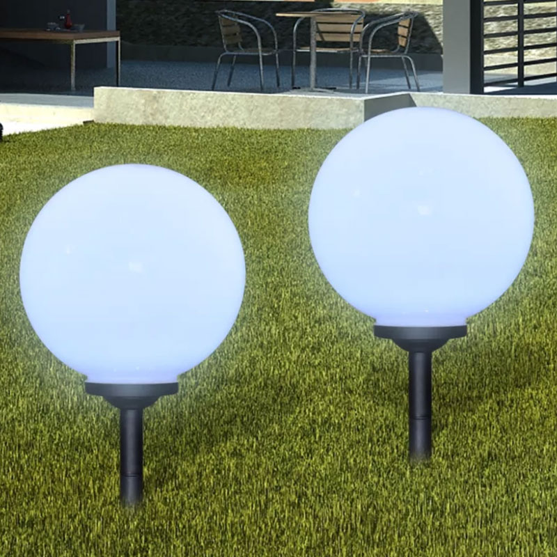 2pcs/set Outdoor Solar Powered Lawn Lamp LED Solar Ball Light Lanterns Lamps Sensor IP65 For Path Garden Holiday Lights Decor DA