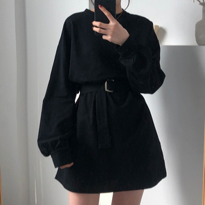 Image 1 - 7 colors 2019 spring and autumn solid color Long Sleeve dress Women Korean style Dress women with belt (X218)