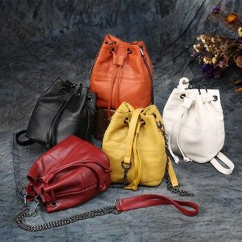Newest Fashion Bucket Bag Summer Women Genuine Leather Shoulder Bag Lady Soft Real Leather Cross Bag Simple Messenger Bag E