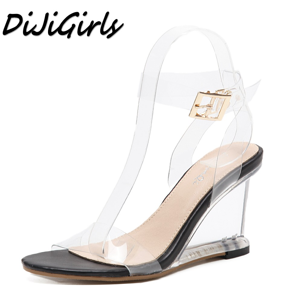 DiJiGirls new women gladiator sandals ladies pumps high heels shoes woman Crystal Clear Transparent casual Wedges shoes-in High Heels from Shoes    1