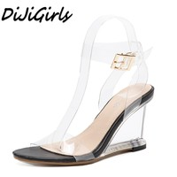 DiJiGirls nuevas mujeres gladiador sandalias de las señoras bombas mujer zapatos de tacones altos de Cristal Transparente Cuñas de los zapatos ocasionales