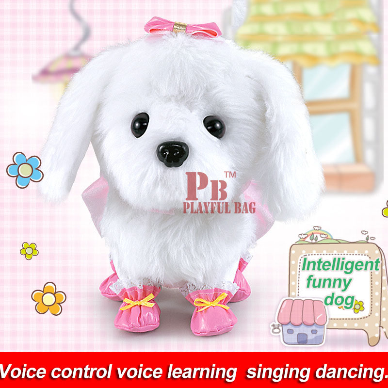 Children's electric toy dog can talk and dance, plush intelligent robot dog simulation, Teddy dog voice command operation happy child girl toys electric toy plush pet dog cute and funny simulation dog