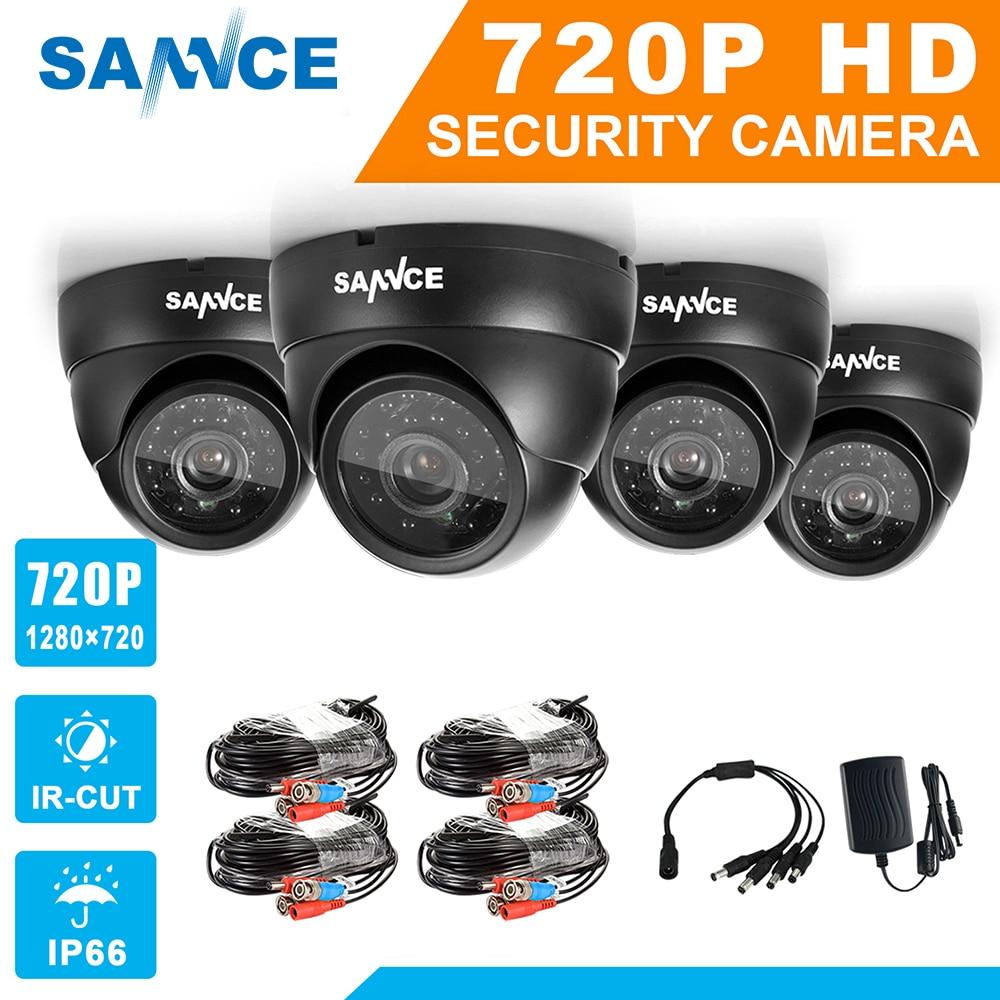 SANNCE AHD 720 P 4 шт. 1200TVL Купол CCTV Камера Suite 1.0MP Водонепроницаемый ИК-Ночное видение Камера для наблюдения системы комплект до н. э.