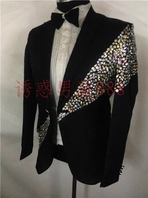 Luxury Mens Rhinestone Beading Sewing Customs Size Stage Performance/dance Sequined Tuxedo Jacket ,only Jacket