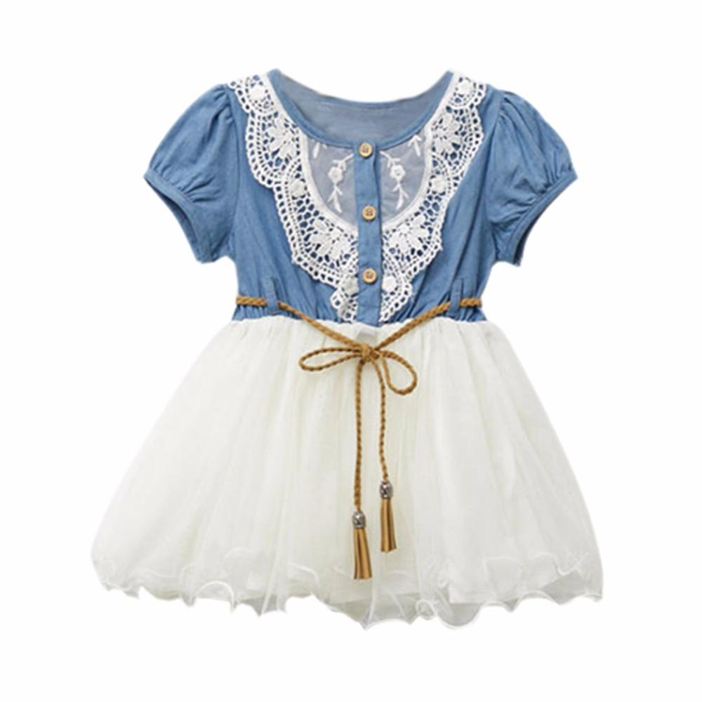 2017 New Summer Kids Girl Dress One Piece Dress Cowboy Demin Tutu Princess Dress Clothing 1-6Y