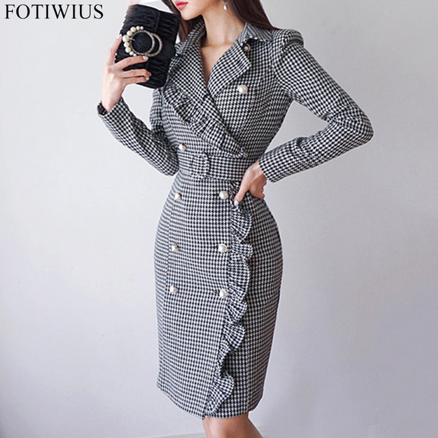 2018 Autumn Winter Double Breasted Blazer Dress Women Long Sleeve OL Office  Work Dresses Ladies Vintage Plaid Bodycon Dress c1e8242ecf96