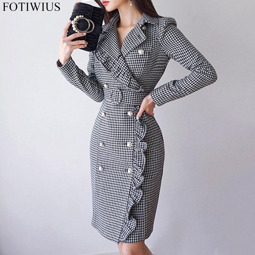 2018 automne hiver Double boutonnage Blazer robe femmes à manches longues OL bureau travail robes dames Vintage Plaid moulante robe