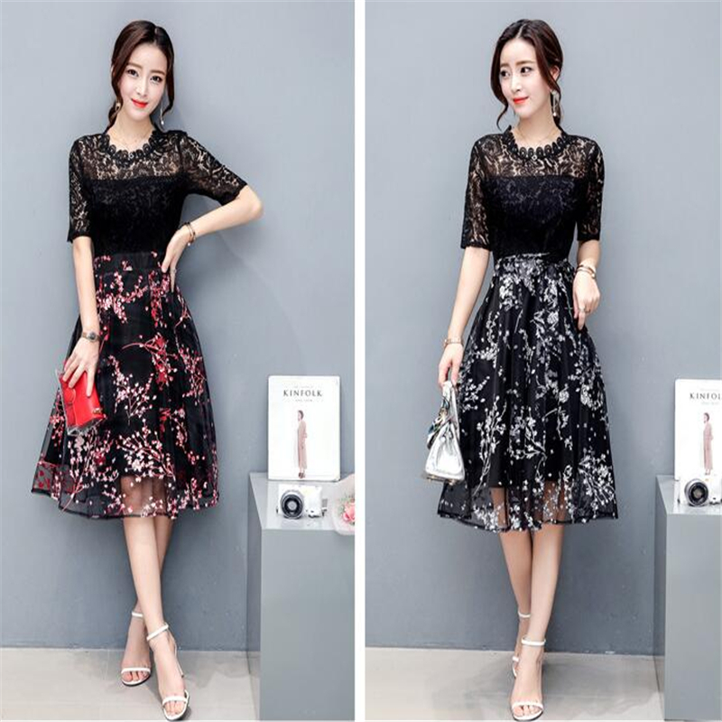 Goethe Retro Woman Embroidery Lolita's Sandy Beach Long Dress Skirt of Chiffon Dresses 2 Colors Short Sleeved Evening Gown