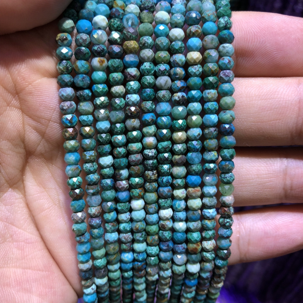 "Купить с кэшбэком 5strings Lot,Natural Chrysocolla Beads,Faceted Semi Gem Roundel Beads,Tiny Spacer Gem jewelry Beads,approx 3x4mm,15.5""/str"