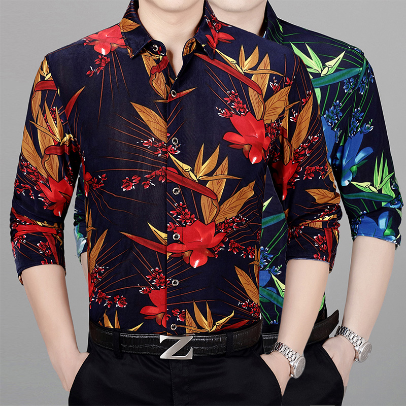 New 2018 Autumn Mens Flowers Printing Dress Shirts Long Sleeve Casual Male Floral Clothes Free Shipping
