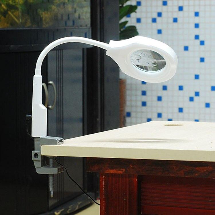 5x 12x luz lupa mesa suporte lâmpada lupa 45 led iluminante grande lupa com clipe para leitura - 5