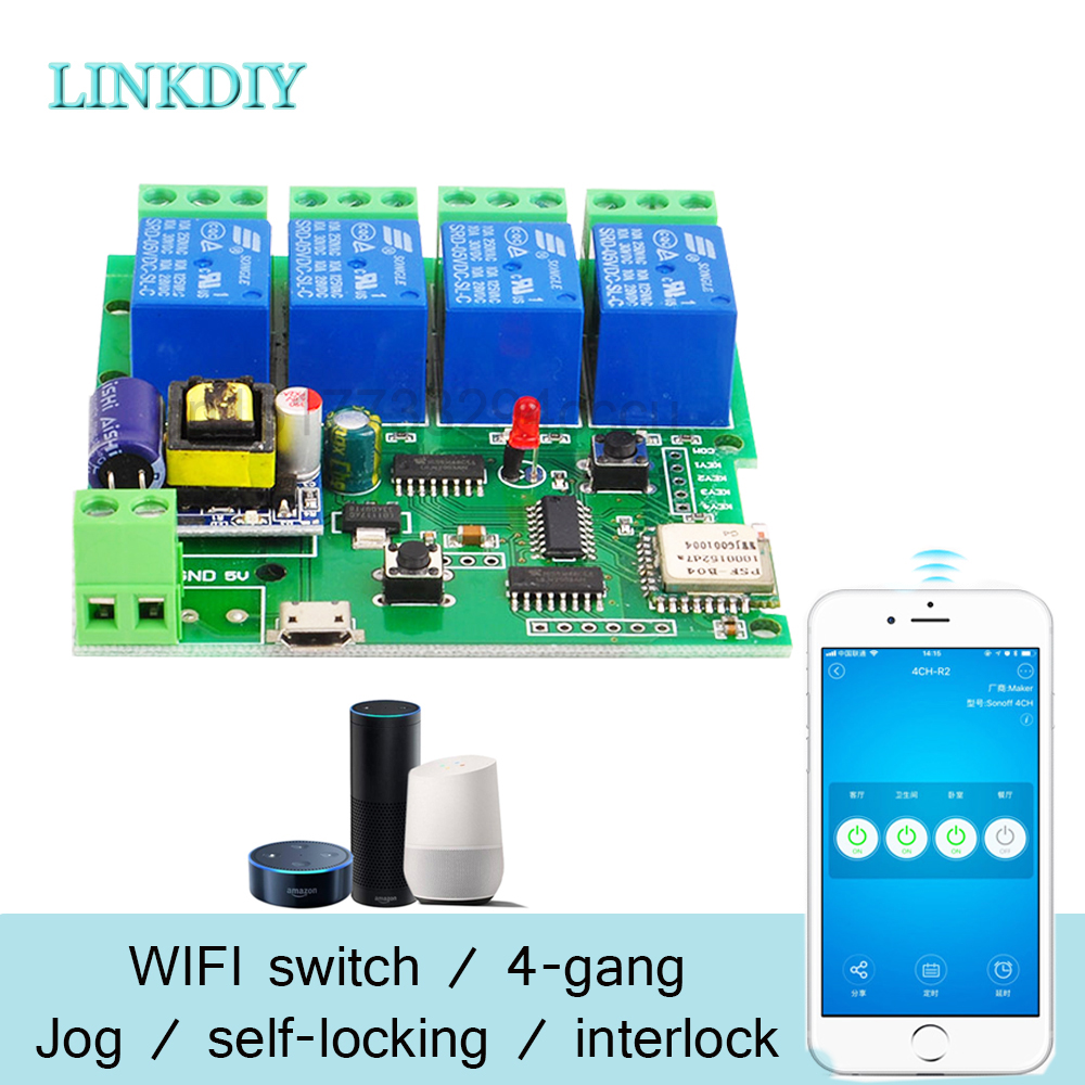 Sonoff Smart Remote Control Wireless Switch Universal Module 4ch DC 5V 12V 32V 220V Wifi Switch Timer for Smart Home