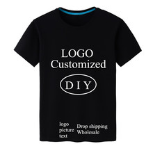 High quality LOGO DIY print design Customize Men's t shirt Black 100% Cotton Male short sleeve Tees Tops custom-made t shhirts
