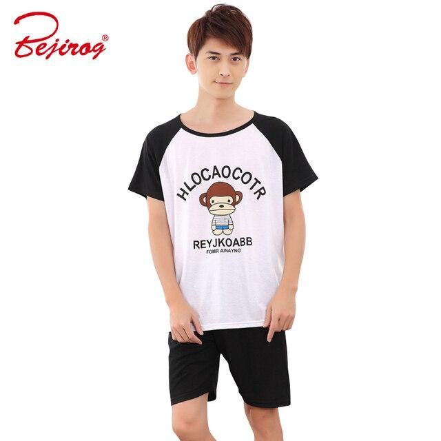 Bejirog monkey print short sleeved pajamas set for men sleepwear stitch pyjamas  black piyamas cotton nightwear 3a49d5506