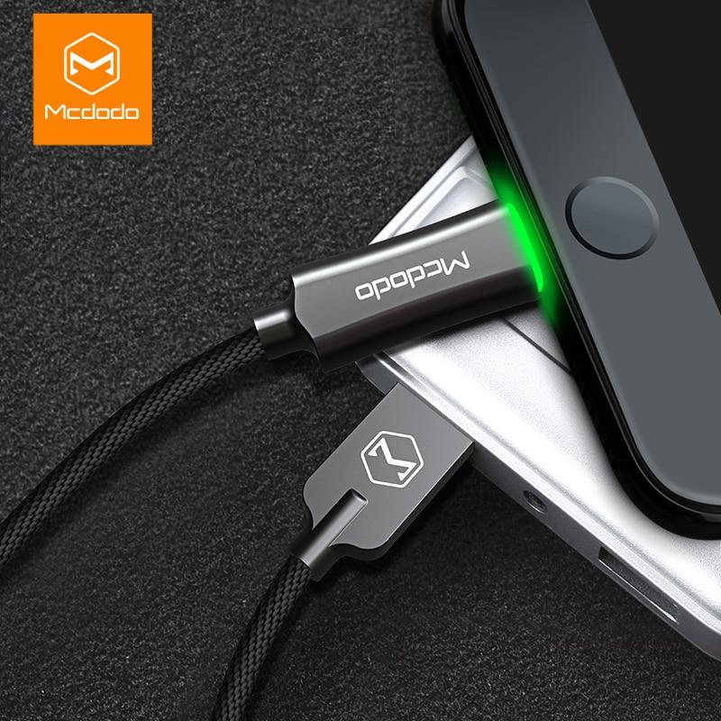 MCDODO кабель USB подсветкой для Apple iPhone 7 6 5 6 S плюс Быстрая кабель для зарядки мобильного телефона Зарядное устройство шнур адаптер USB кабель для…