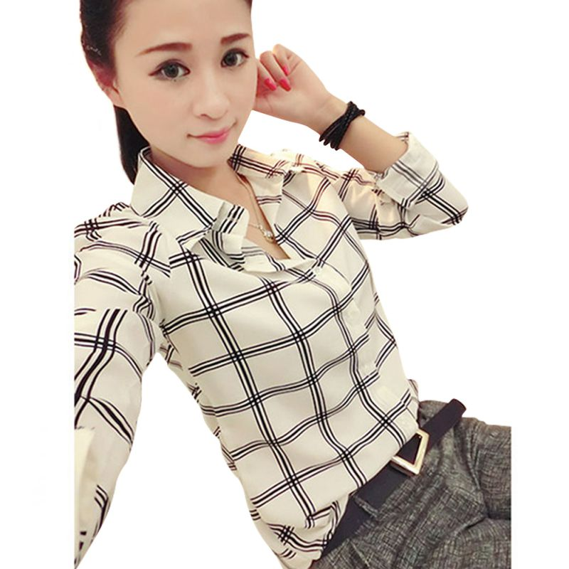 Women's Clothing Womens Long Sleeve White Shirts Plaids Pattern Lapel Casual Blouse Tops