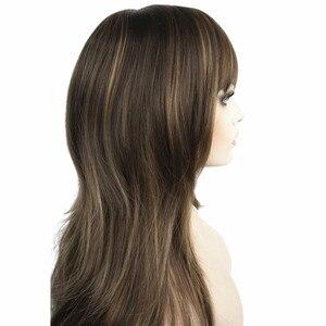 Image 2 - Strongbeauty女性の合成ロングかつらレイヤードストレート髪ダークブラウンブロンドのハイライトとキャップレスかつら
