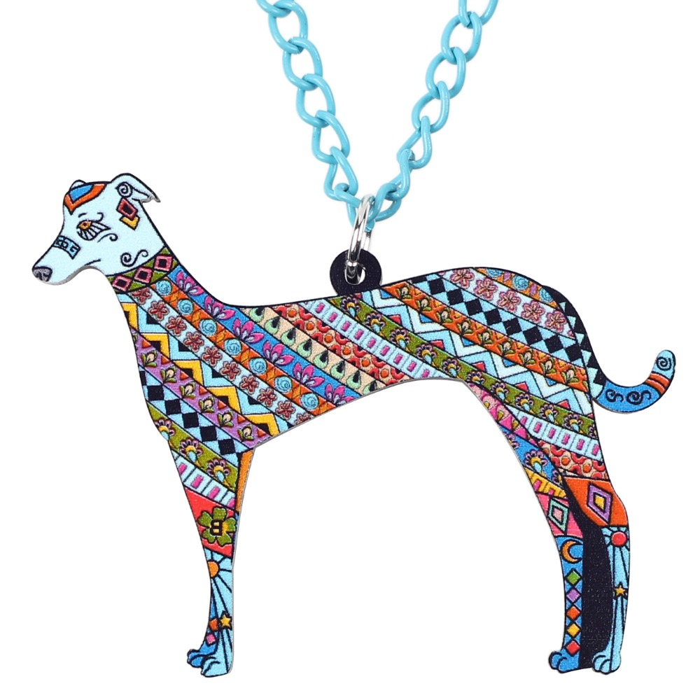 Bonsny Acrylic Greyhound DOG Necklace Cartoon Pendant Chain Collar Choker Pendant Animal Fashion Jewelry For Women Girs New