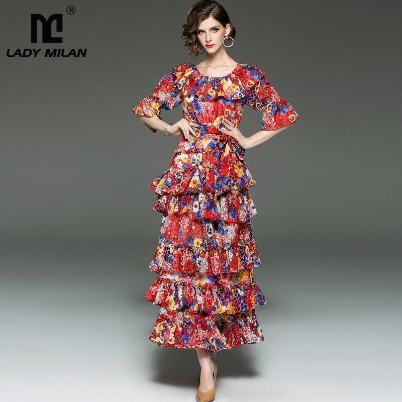 Kadın Giyim'ten Elbiseler'de Kadın Pist Tasarımcı Elbiseler Slash Boyun Çizgisi Tierred Ruffles Çiçek Baskılı kuşak kemer Moda Rahat Tatil Elbiseler'da  Grup 1
