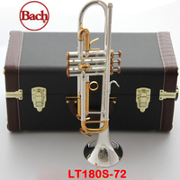 100% original Bach trumpet LT180S 72 B flat Silver plated gold button professional trompete Top musical instruments Brass horn