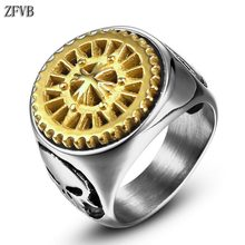 ZFVB Vintage Rotating Cross Gear Rings Men Stainless Steel Black Gold color Skull Sawtooth Ring Male Fashion Charm Jewelry Gift charm stainless steel rings fashion golden